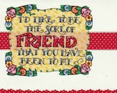 Mary Engelbreit, Friendship/Thinking of You Card by Lynelle (E032)Designed with FABRIC.......Stock up with designs from large inventory