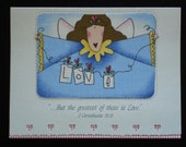 Love Angel, Handcrafted, Religious, Birthday Card by Lynelle (BD44) designed with FABRIC....Buy any 10 items, get 1 FREE