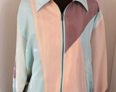 SALE- Vintage 1980s - Pastel - Color Block, Bomber Jacket
