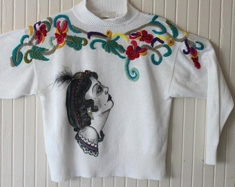 Fortunate Teller : Hand painted on a Vintage Floral Sweater-  Size L