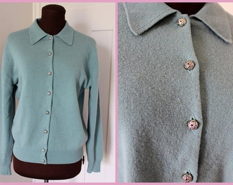 Vintage 1940s - 1950s-  Lambswool -Jaeger brand cardigan- with silver rose buttons