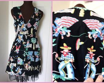Vintage 90s- by  Betsey Johnson - Southwestern Print Dress - Small