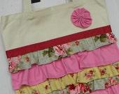 Ruffle Tote Pink/Rose and Yellow with Burgandy Ribbon at Top