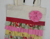 Ruffle Tote Pink/Rose and Yellow Mini
