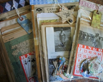 Vintage Ephemera Pack 100 pieces PLUS, Book Pages, Vintage Advertising,Punch Outs,Vintage Stamps, Journal Making Supplies, Smash Book Supply