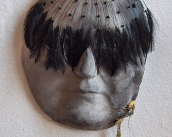 Crone, Primitive, Hand Built, Pit Fired Native American Motif Mask , by Claudia O'Driscoll