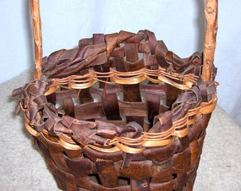 Early Hand Woven Wild Cherry Bark Basket by Native Artist Julie Bartow (Birth - 1999)