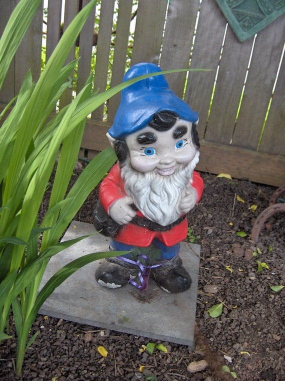 On reserve for Sharon.  Vintage 16 inch Cement Garden Gnome