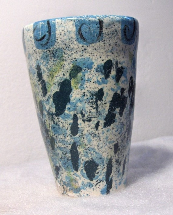 1950s Turquoise and Teal Hand Thrown, Abstract Splatter, Studio Pottery Vase
