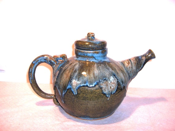 Large, 9 cups, Studio Art Pottery 1972 Tea Pot in Teal, Blues, Greens High Gloss Drip Glaze