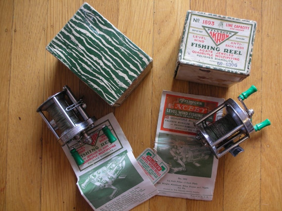 8 Vintage 1940's / 1950's Fishing Reels, Some with Original Boxes