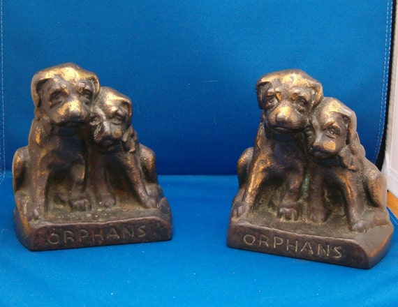 ORPHANS, Antique Hubley 1920's Cast Iron Puppy Dog Bookends