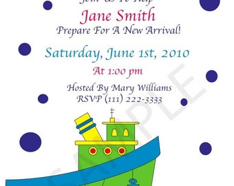 Baby Shower Invitation, Tugboat