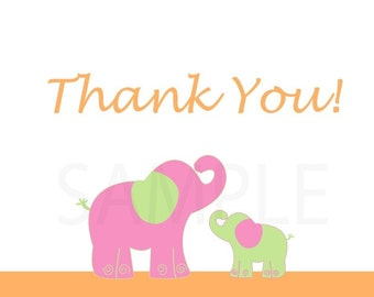 Set of 10 Folded Thank You Cards, Tropical Elephants
