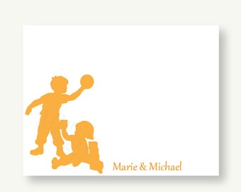 Set of 10 Child Playtime Personalized Silhouette Flat Note Cards