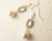 White Swarovski Pearl Earrings With Silver Oval Links - JanMarieArts