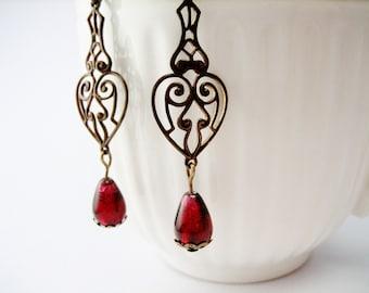 Scarlet Red Glass Earrings /  Cranberry /  Vintaj Brass  / Under 15