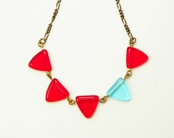 Red  Aqua Necklace /  Glass Triangle  /  Bunting / Geometric / Vintaj Brass