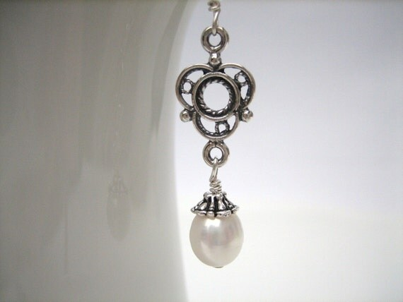 White Pearl Drop Earrings /  Freshwater Pearl /  Sterling  Silver  /  Antique Style