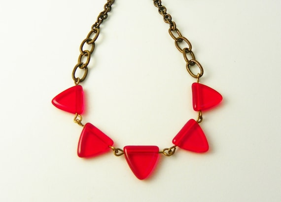 Red Glass Bunting Necklace