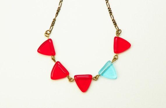 Red  Aqua Necklace /  Glass Triangle  /  Bunting / Geometric / Vintaj Brass