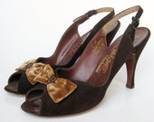 Vintage 50s Brown Suede Leather Peep Toe Velvet Bow Stiletto High Heel Slingback Mad Men Pin Up Girl Shoes 7.5