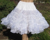Vintage 50s Snow White Moulin Rouge Can Can Dance Hall Girl Ruffled Nylon Full Circle Skirt Crinoline Petticoat