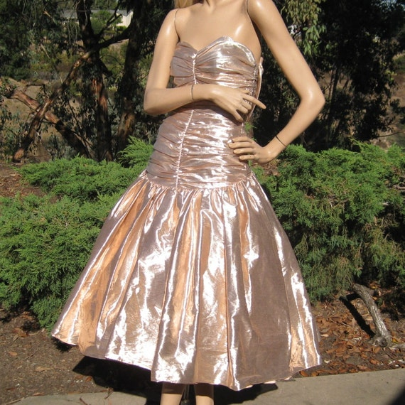 Vintage Wedding Dresses Miami: Vintage 80s Pink Ruched Metallic Lame Full Skirt Party Prom