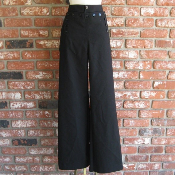 Vintage 40s 50s US Navy Issue High Waist Wide Leg Gabardine Swing Sailor Pants 42w