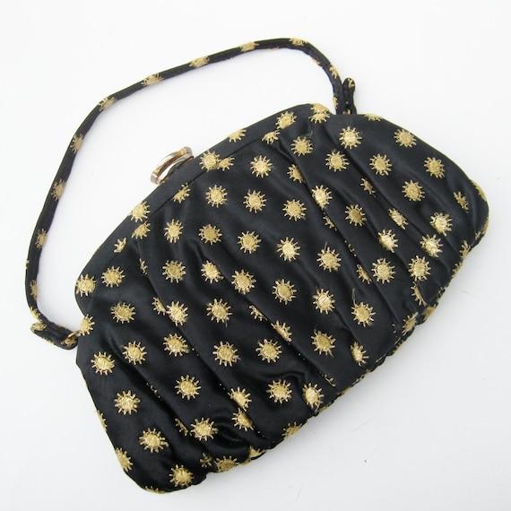Vintage 50s 60s Glamour Girl Black & Gold Satin Rhinestone Evening Bag Purse Handbag