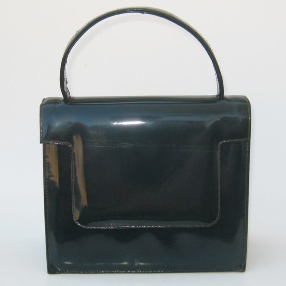 Vintage 50s 60s Dark Teal Green Shiny Vinyl Pocketbook Purse Handbag