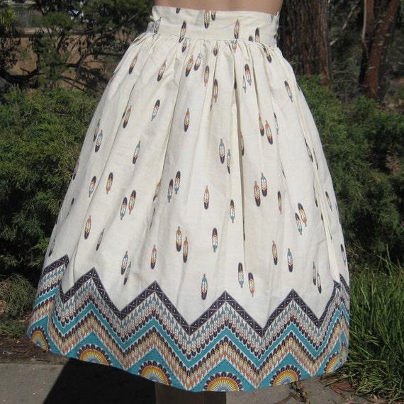 Vintage 50s Indian Summer Novelty Print Cotton Rockabilly Summer Full Skirt 30w