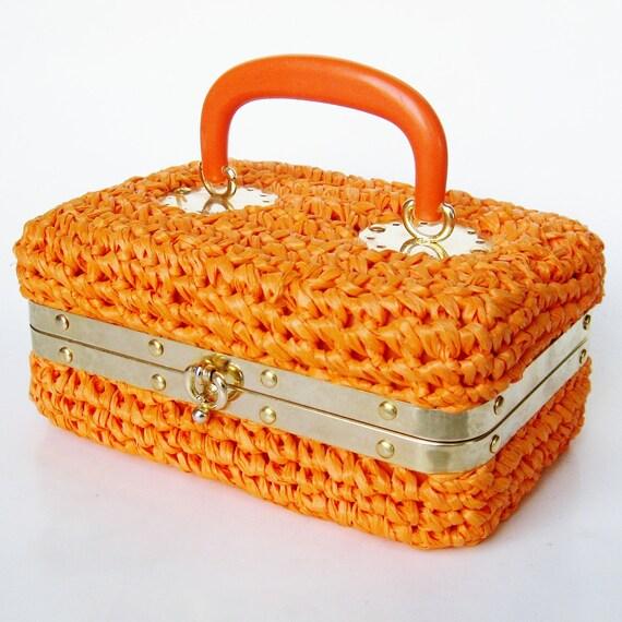 Reserved - Vintage 60s Purse Mod Italian Bright Orange Designer Alfredo Picchi Woven Raffia Handbag Box Purse