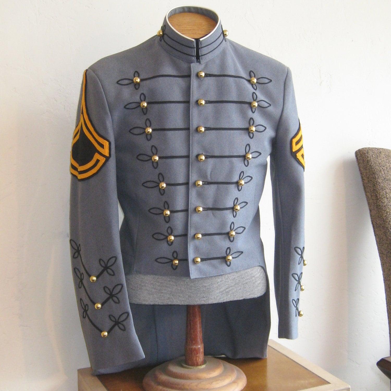 Vintage Mens Blue Military Marching Band Uniform Jacket Tails