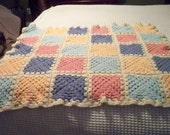 sALE 15% off coupon code SANTA,Afghan for Baby, Crochet in cream, blue, mint, pink, peach.  vintage, great for a gift