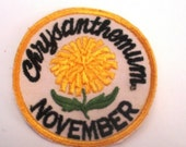 November Flower of the Month Chrysanthemum Authentic Retro Vintage Sewing Patch Applique