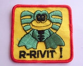 R-Rivit Cute Green Frog Square embroidered  - 1970s Retro Vintage Sewing Applique Patch