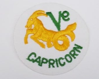 Capricorn Astrology horoscope Vintage Patch Applique  Iron On Sewing Vintage Retro