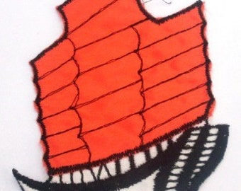 Bright Orange and White Sail Boat Shiny - Vintage Retro Sew on Patch
