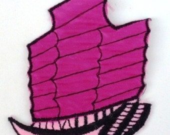 Purple Vintage Ship - Vintage 1970's Sewing applique Patch