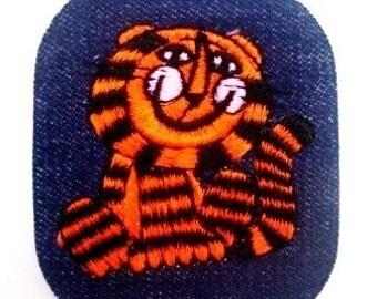 Rare Vintage Smiling Orange and Black Striped Tiger Sewing Patch Applique