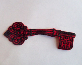 Red and Black Felt Key  - Vintage Sewing Patch Applique 1970's