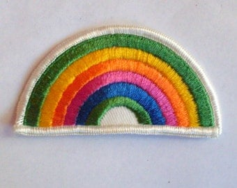 Retro Rainbow Authentic Collectible Vintage Patch Applique 3.25 x 2""
