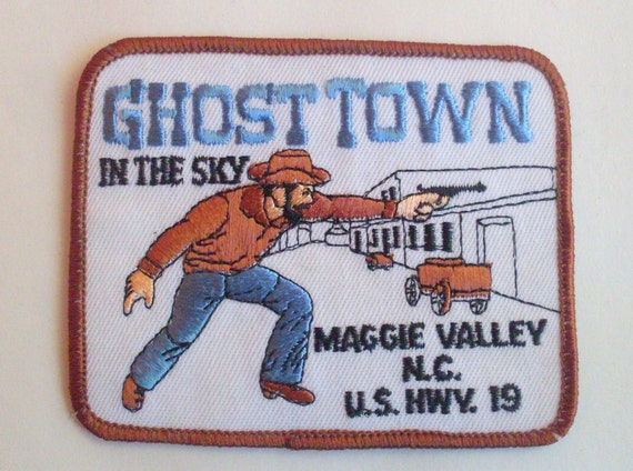 Ghost town in the sky  - 1970s Retro Vintage Sewing Applique Patch