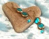 Turquoise Blue Glass Windows on Brass Earrings