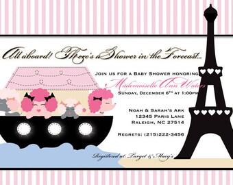 Noah's Ark Baby Shower Invitation - Noah Goes to Paris - Personalized Digital File
