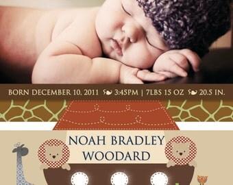 Noah's Ark Printable Photo Birth Announcement  or Christening Invitation