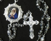 Catholic Rosary Clear Crystal Unique Centerpiece Five Decade