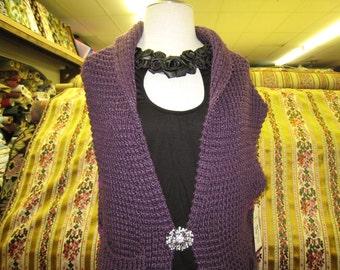purple hand knit vest (c30)