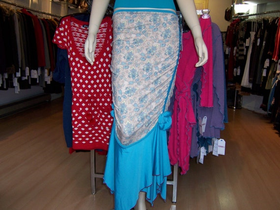 Turquoise color floral Print Two Layers Skirt (v78)